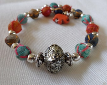 Traditional Indian Sari Bead Bracelet; Turquoise Orange Beaded Bracelet, Boho Bracelet, Ethnic Bracelet