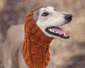 Brick orange dog snood // ready to ship // for female saluki, afghan hound or similar // hand-knit 100% wool dog snood // sighthound snood