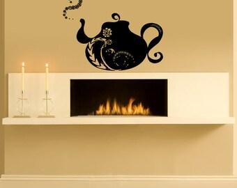 Wall Decal Sticker Bedroom flower tea pot testaurant kitchen decor 263b