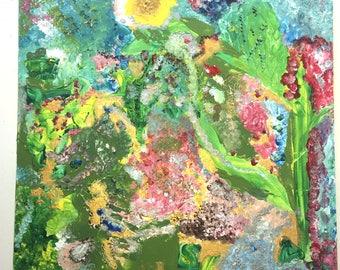 Original Sunset Flowershower-on canvas