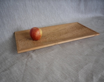 Carved cherry wood fruit bowl, hand made, Rectangular, shallow, beeswax finish, wooden,