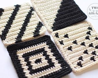 Crochet coasters, crochet coaster set, Drink Coasters, Cotton Coasters, Coffee Coasters,Handmade Coasters, geometric, TEAGAN COASTER SET