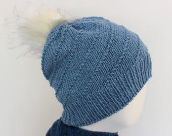 handknit blue winter hat with off white pompom, merino wool beanie, women's slouchy hat