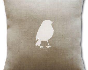 Decorative cushion cover 40 x 40 cm - bird pillow - linen cushion