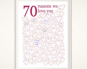 70th Birthday Gift For Mom - 70th Birthday Poster, PRINTABLE 70th Birthday Party Decorations, 70 Years Loved, 70 Year Old Birthday, Sign