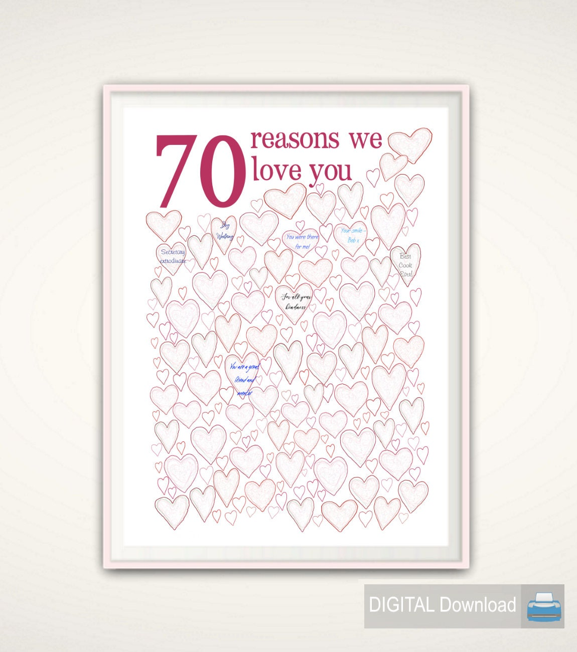 70th Birthday Gift For Mom 70th Birthday Poster PRINTABLE