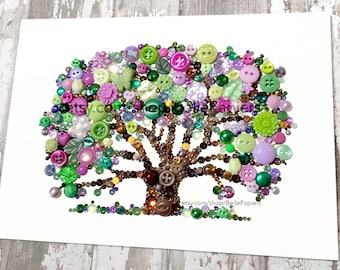 Button Art Tree of Life Wood Anniversary Foliage Button Art Swarovski Rhinestones Button Oak Tree Family Tree Wedding Gifts