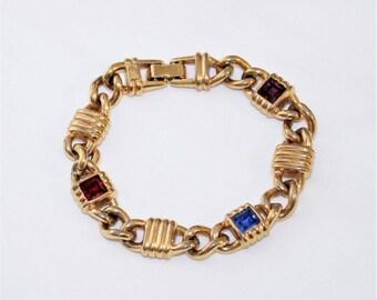 "SWAROVSKI SALO Amethyst Ruby Sapphire Crystal Gold Tone Link Bracelet - 7 3/4"" L"