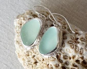 Seafoam Green Sea Glass Earrings - Natural Sea Glass, Genuine Sea Glass, Sea Glass Jewelry, Beach Glass Jewelry, Beach Glass Earrings
