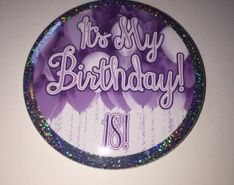 18th Birthday Button   3 Inch Pinback Button   18 Birthday Party Favors   Custom Personalized Buttons   Large Party Button Pins