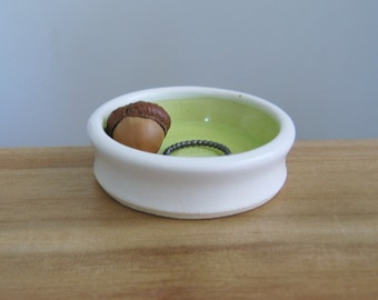 POTTERY SECONDS Wedding Ring Holder, Tiny Lime Green Bowl, Ceramic Jewelry Bowl, Engagement Gift, Trinket Dish