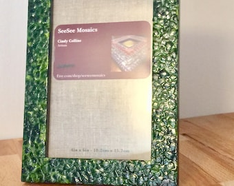 Green Eggshell mosaic picture frame/ FREE SHIPPING