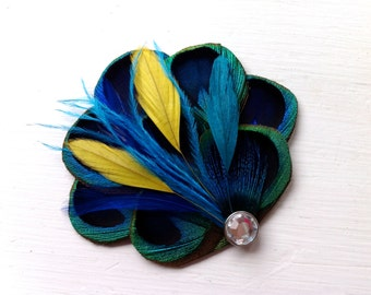 BRANDY II Blue, Turquoise, and Yellow Peacock Hair Fascinator, Clip, Couture Wedding