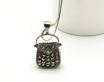 Vintage Marcasite Sterling Silver Purse Handbag  Pendant Necklace   Reversible Retro Necklace for her Under 60 Mom Girlfriend Shopper Gift
