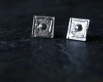 Sterling Silver Crumple Studs - Tarnished