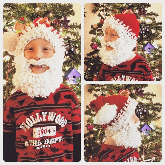 Santa Hat and Beard, Santa Costume for Kids Men Women, Santa Beard, Christmas Hat Adult Kids Toddler, Family Christmas Hats, Santa Wig