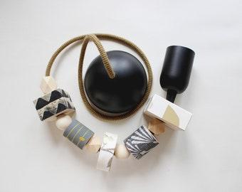 Black pendant lamp, Wooden pendant light, Black chandelier, Black design lamp, Black lamp, Wooden lamp, Gift for him, Living pendant lamp,