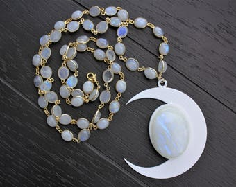 Moonstone Necklace Crescent Moon Necklace Crescent Moon Jewelry Moon Necklace Moon Jewelry Rainbow Gold Moonstone Necklace Boho Jewelry