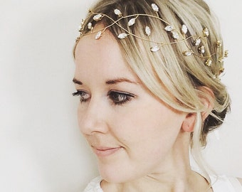 Bridal hair vine, gold bridal headpiece, boho crown, bridal headband, Swarovski crystal bridal accessories, wedding jewellery,bridal jewelry