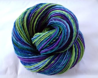 Handspun yarn, handspun merino yarn, worsted yarn, single yarn, blue, green, purple, stripes, RIVERBANK, 3.5oz/180yds, 100g/162m, 100% wool