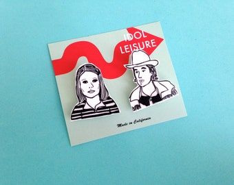 Wes Anderson Pin Set - The Royal Tenenbaums - Margot Tenenbaum - Eli Cash