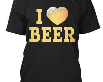 I Love Heart Beer T Shirt, Beer shirt, Beer tee shirt, gifts for guys, gift for him, b-day gift, party shirt, drinking shirt, college party