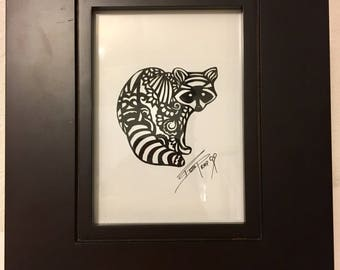 Intricate Raccoon Silhouette with Wood Frame / Hand Cut Silhouette / Paper Art