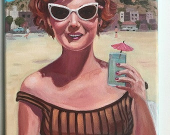 Carol at the beach. An original portrait painting of a vintage woman at the beach.