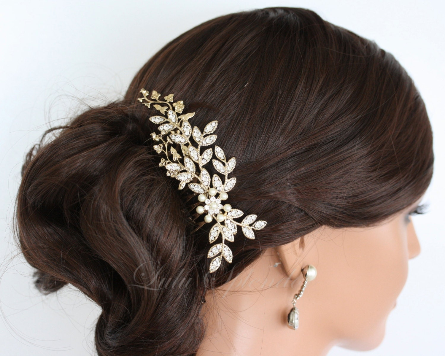 bridal hair comb gold wedding comb crystal leaf comb wedding