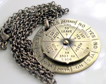 Fortune Telling Pendant Big Charm Necklace -1950s Vintage Spinning Fortune Teller - Unusual Retro Jewelry