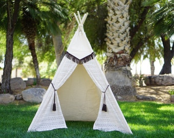Pocahontas original lace teepee, kids Teepee, tipi, Play tent, wigwam or playhouse with canvas and Overlapping front doors