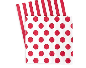 Napkins | Red and White Stripe Napkins | Red and White Polka Dots Napkins | Reversible | Beverage | 20 Paper Napkins | The Party Darling