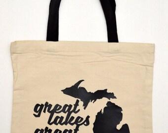 Great Lakes Great Times Tote Bag, Michigan, Michigan Tote Bag, Michigan Bag, Michigan Mitten, State tote bag, MI Tote Bag, Michigan gift