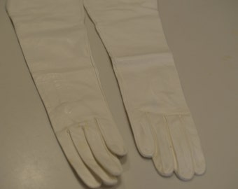 Vintage white opera gloves, for people with small hands, long very soft formal gloves