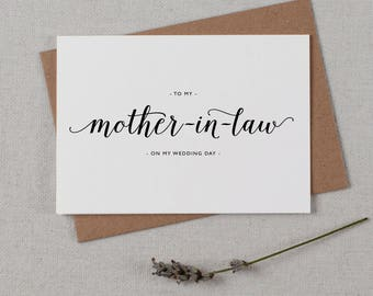 Wedding Card To My Mother-In-Law, To My Mother-In-Law on My Wedding Day, Thank You Wedding Card, To My Mother On My Wedding Day Card, K3