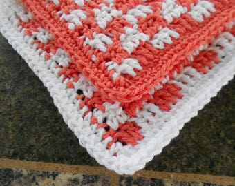 Crochet Cotton Kitchen Dishrags, Coral Gingham Dishcloths, Small Dishcloth, Orange and White Dishcloths, Cottage Chic