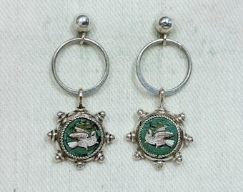 Tiny Micro Mosaic Dove Bird Earrings, Silver, Italy Grand Tour Souvenir