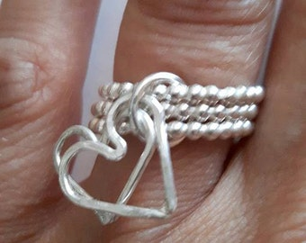 Triple Band Ring with Two Hammered heart charm