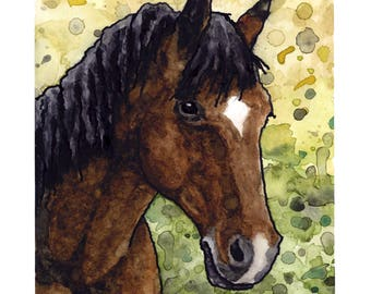 Art Print // THOROUGHBRED - Ink & Watercolor