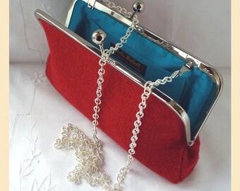 red shoulder bag, Harris Tweed clutch bag, red tweed purse, tweed handbag with teal silk lining, personalised birthday gift for her