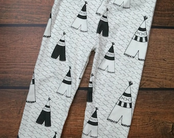 Baby Children Handmade Organic Cotton Jersey in Tribal Teepee Theme Leggings Pants Newborn to 4T