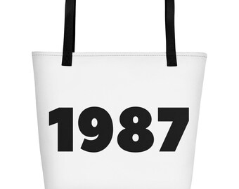 Born In 1987 Back In 1987 Remember 1987 Sign What Happened 1987 Vintage 1987 Flashback 1987 Awesome Since 1987 Reunion Gift Beach Bag