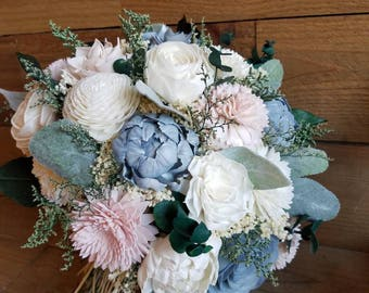 Custom Slate Dust Blue and Blush  Wedding Bridal Bouquet Sola Flowers and dried Flowers Euculuptus Faux Lambs Ear and Greenery Style 70