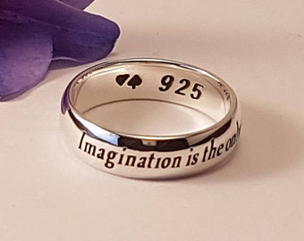Alice in Wonderland Ring, Lewis Carroll Quote, Quote Ring, Inspirational Jewelry, Handmade Jewelry, Personalized Ring, 925 sterling silver