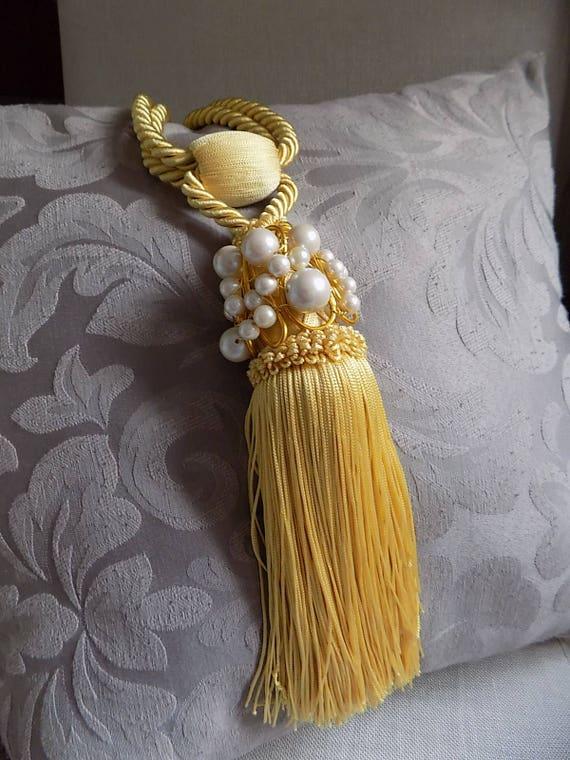 Chanel inspiriert gelb gold Elfenbein Quaste Gardinen Halter