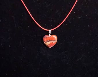 Mixed Reddish Browns Heart Shaped Stone Crystal Chakra Pendants Charms Necklace