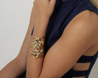 Bicolor Statement Orchid Bracelet, Flower Bracelet, Gold Plated Flower Cuff, Statement Cuff