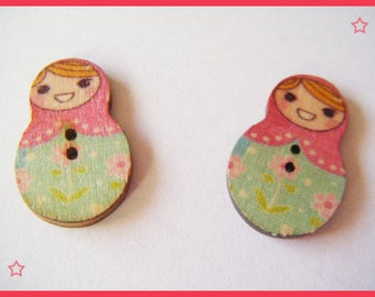 2 buttons - Russian doll matryoshka
