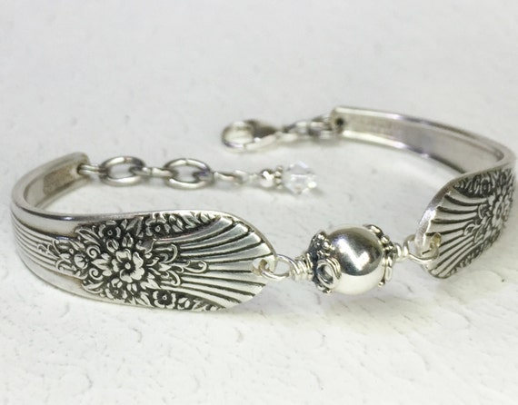 Spoon Bracelet featuring Sterling Silver Bead, Silverware Jewelry 'Marigold' 1939