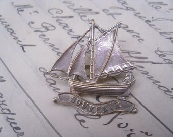 A Lovely Antique French Souvenir 'Sailing Boat' Metal Brooch.Gift,Souvenir